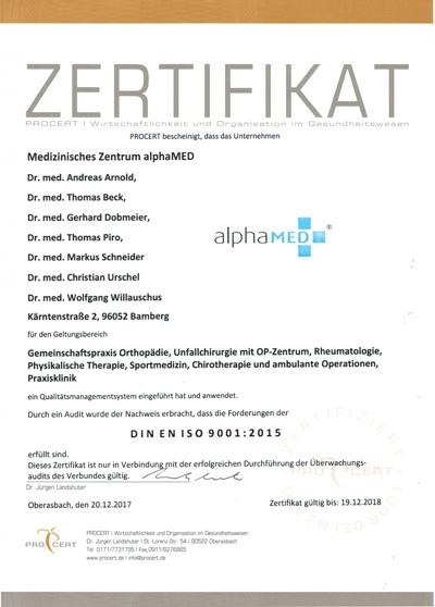alphaMED Bamberg Zertifikate und Zertifizierungen Praxisklinik ...
