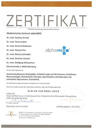 Alphamed Bamberg Zertifikate Und Zertifizierungen Praxisklinik
